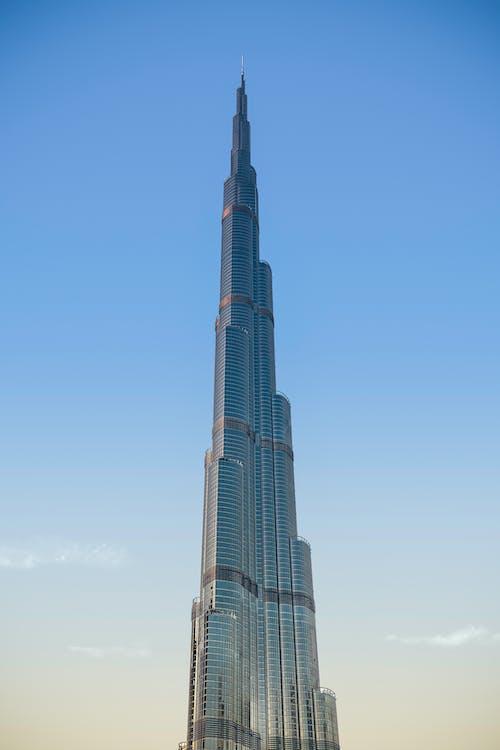 Burj Khalifa in Dubai Under Blue and White Sky