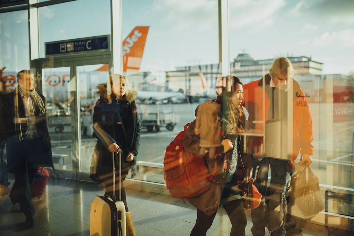 aeroplano, aeroporto, passeggeri