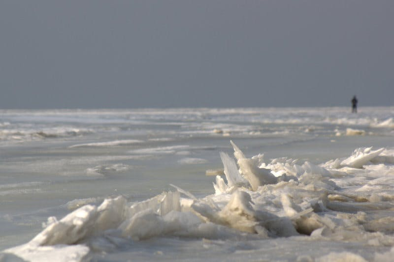Free stock photo of driftig ice, man, noordpolderzijl, sunshine