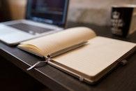 desk, notebook, pen
