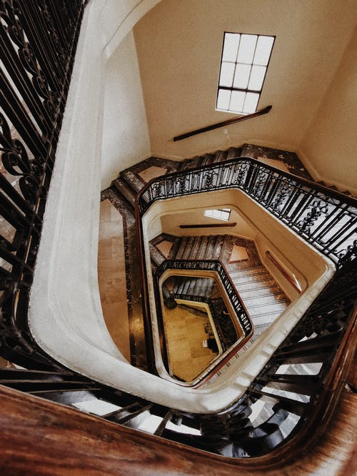 Top View Photo of Spiral Staircase
