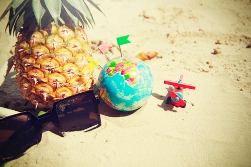 Blue Globe Toy Beside Pineapple Fruit