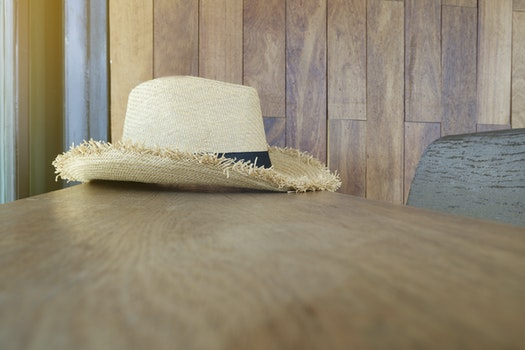 Free stock photo of wood, table, hat, inside