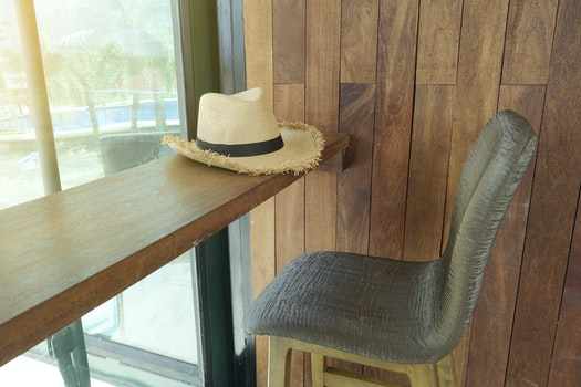 Free stock photo of wood, glass, table, hat