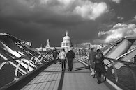 black-and-white, clouds, bridge