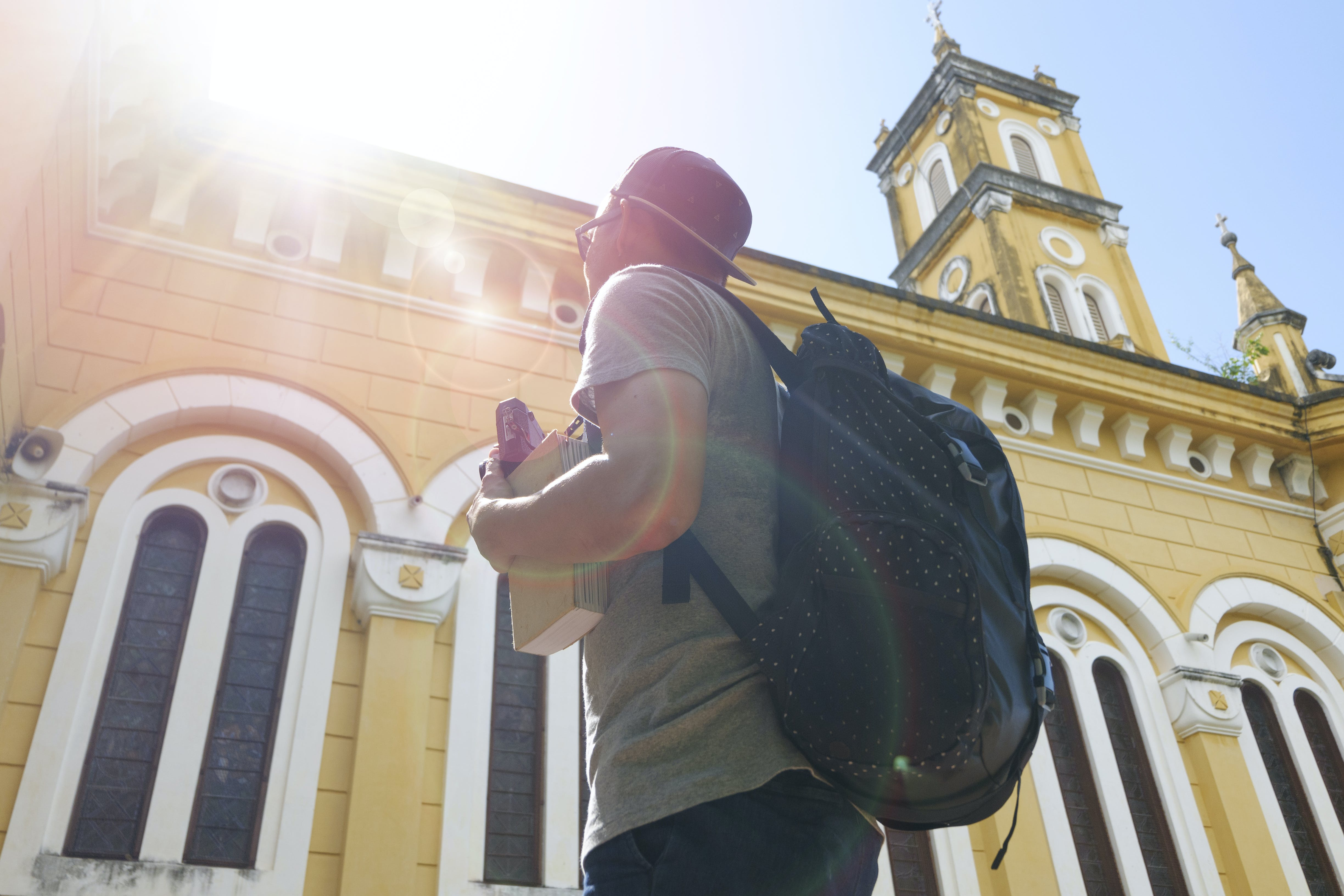 architecture, backpack, backpacker