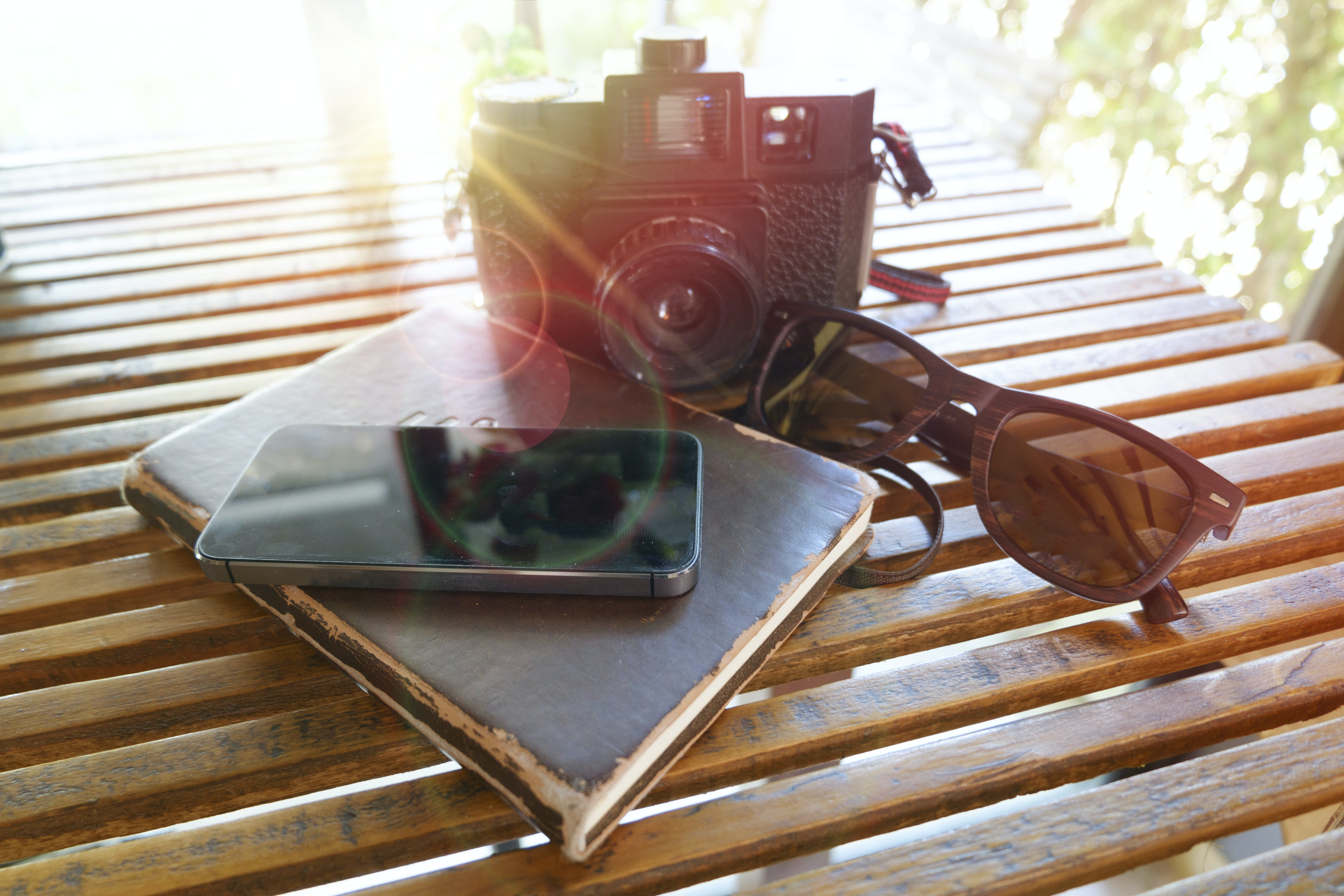 Black Film Camera on Table