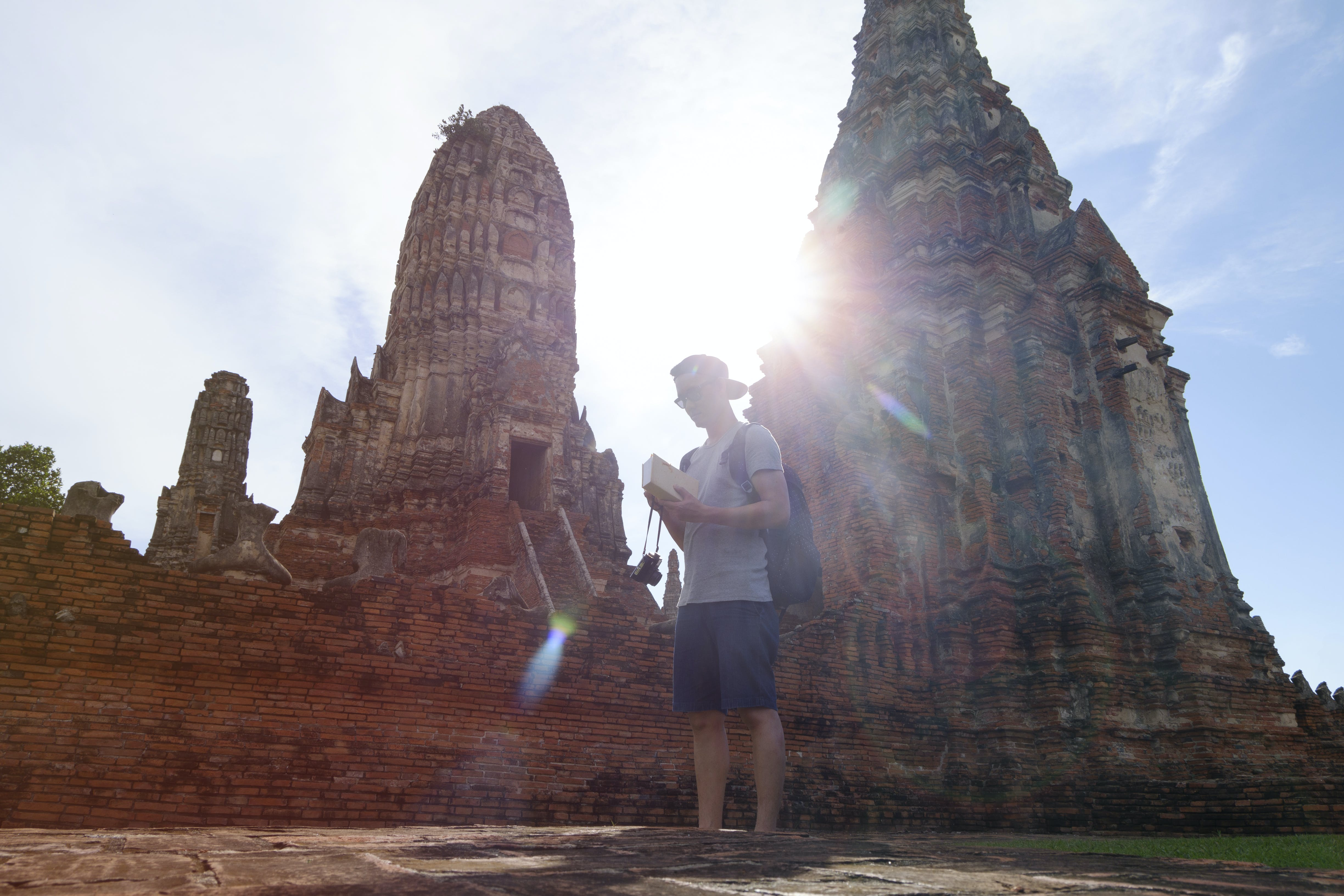 Man Standing in Front of Angkor Wat, Cambodia