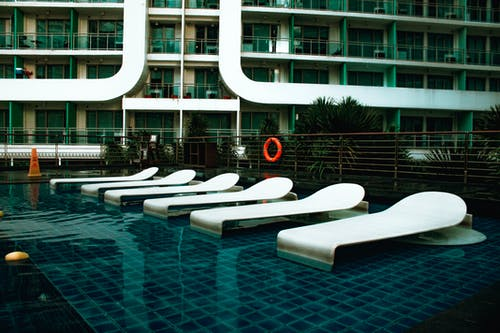 White Pool Beds