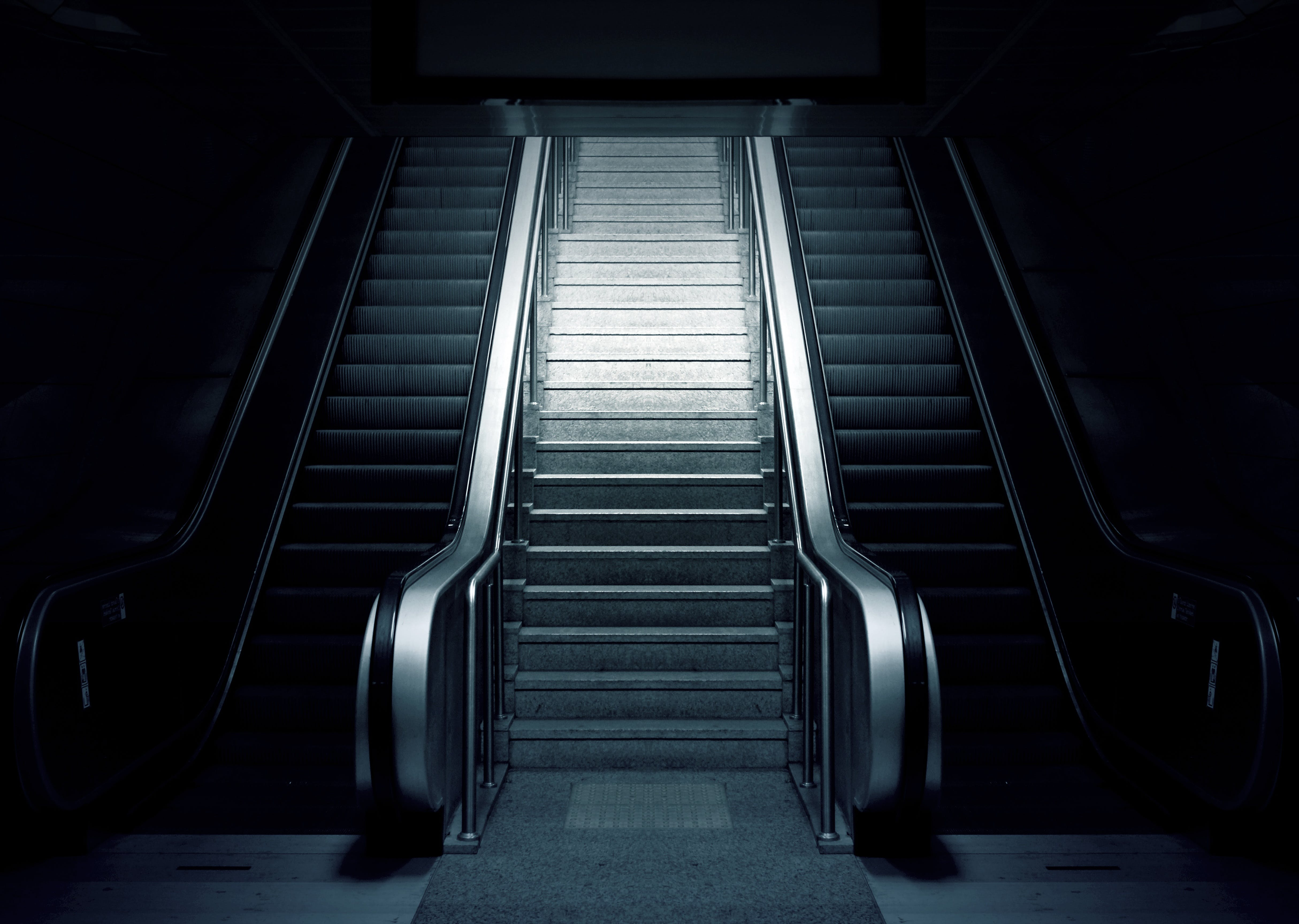 black-and-white, dark, escalator