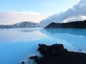 island, meer, dämmerung