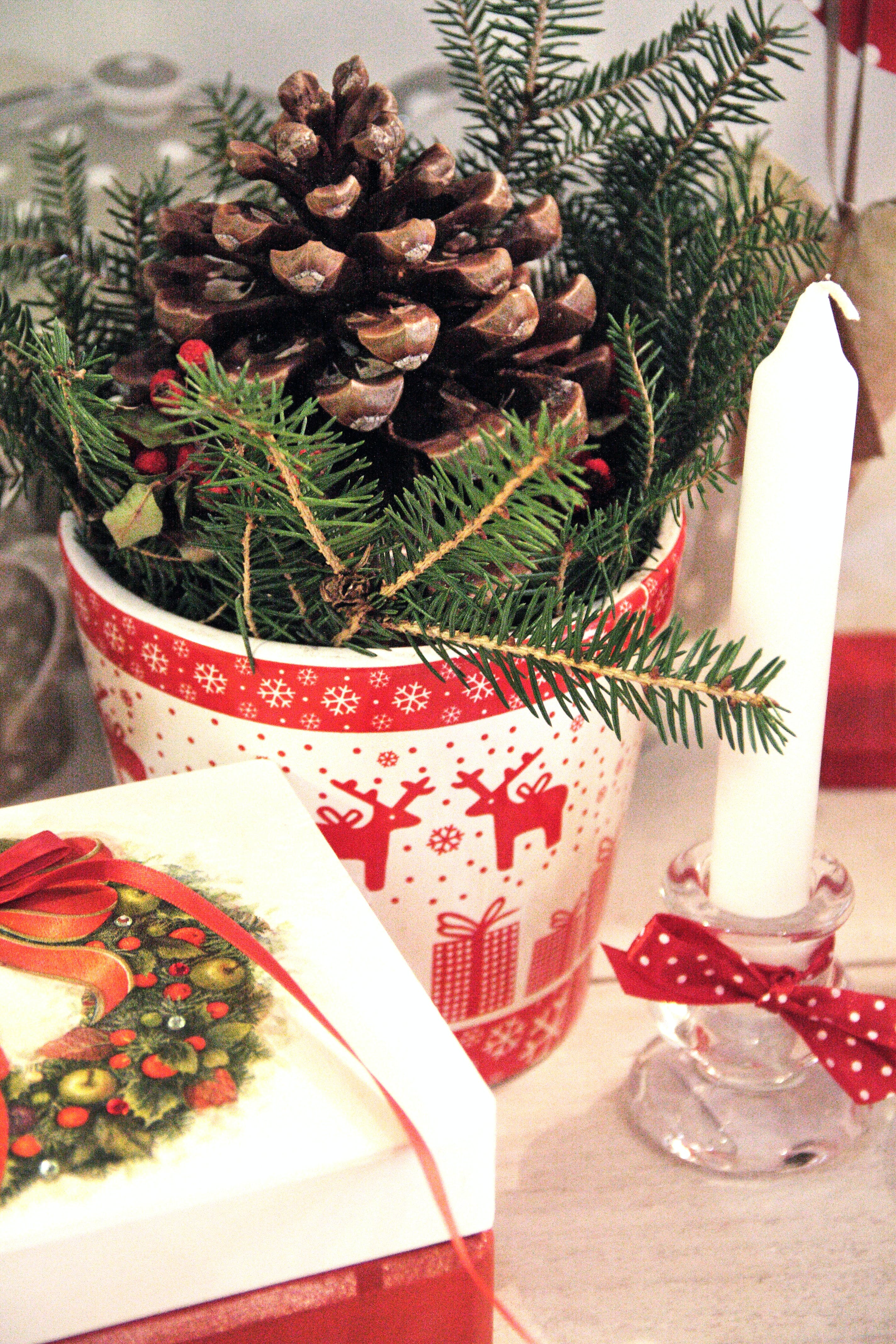 Pine Cone on Plastic Cup Beside White Candle