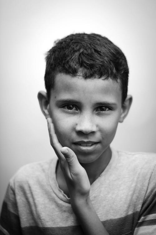 Monochrome Portrait Photo Of Boy