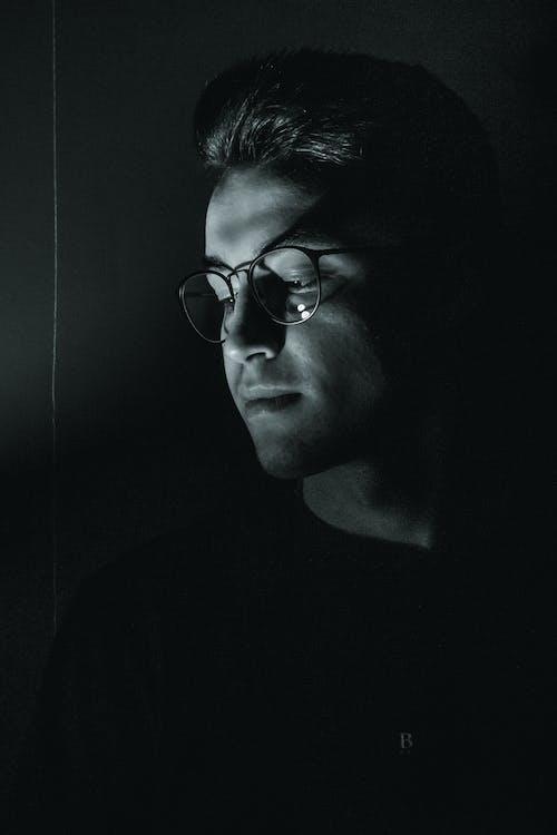 Monochrome Photo Of Man Wearing Eyeglasses