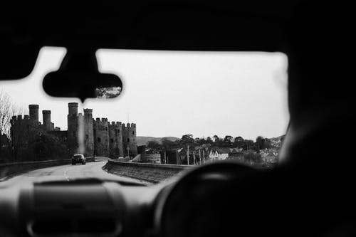 Grayscale Photography of Historic Castle