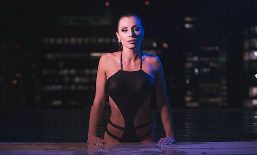 Woman Wearing Black Monokini