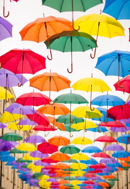 farverig, mange, Paraplyer