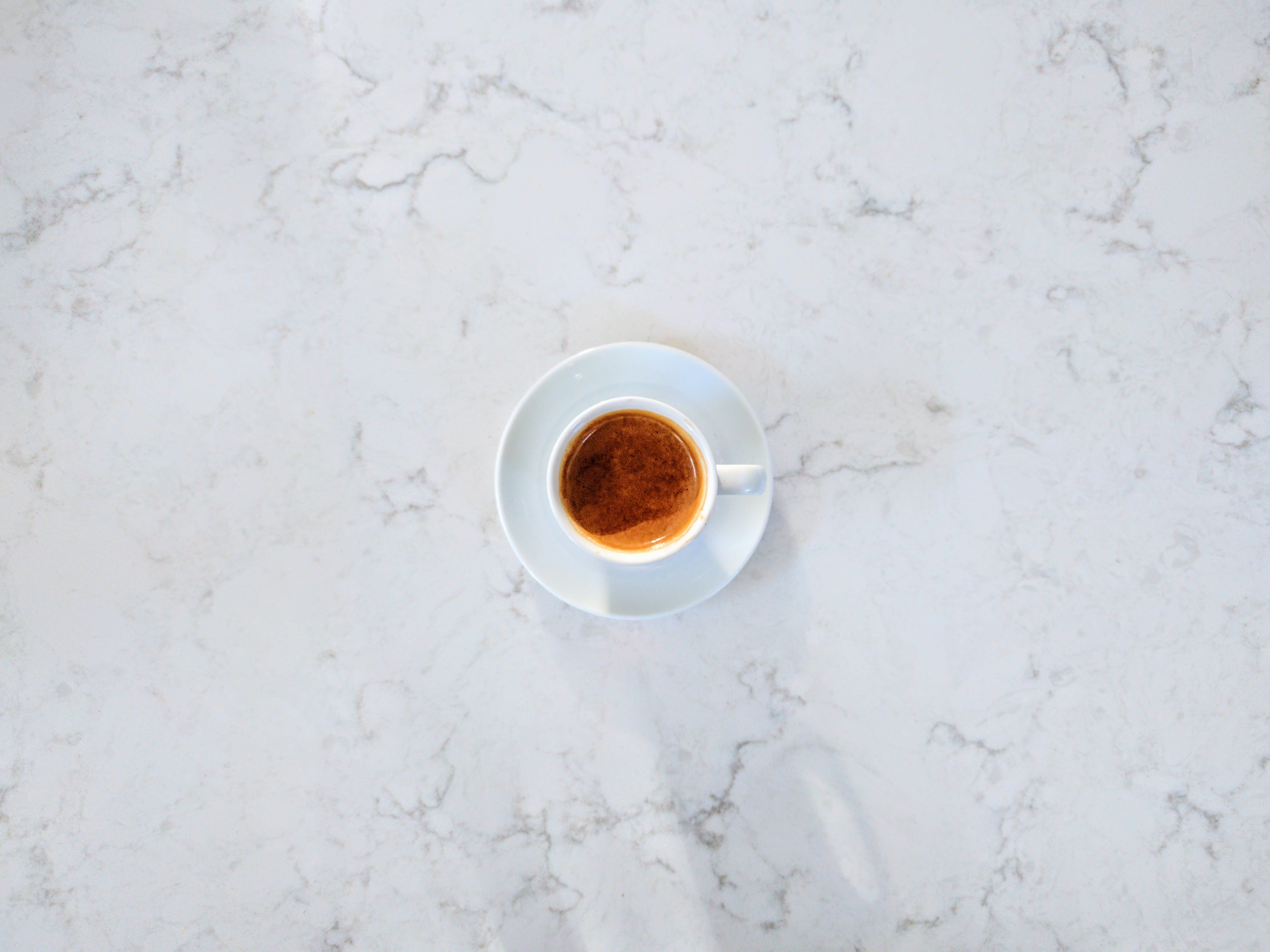 Free stock photo of coffee, espresso, marble, shadow