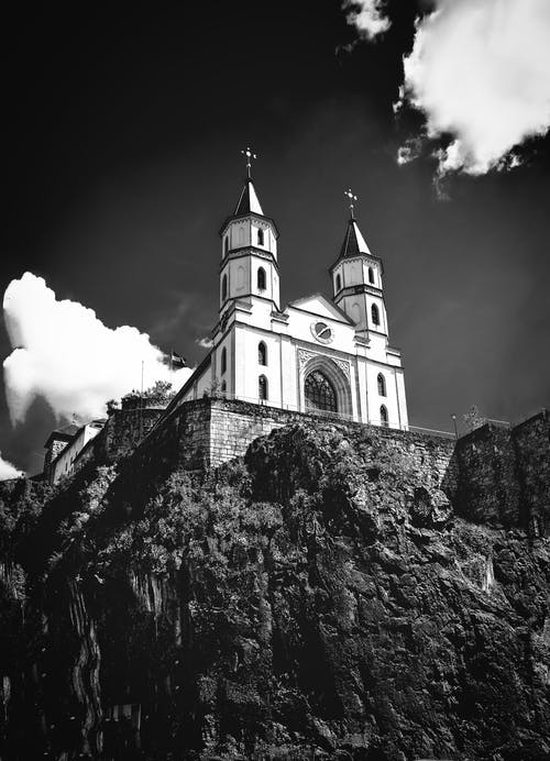 Free stock photo of Adobe Photoshop, black-and-white, church, cliffs