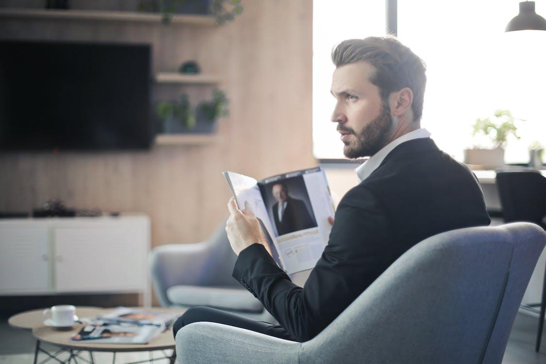 armchair, beard, business