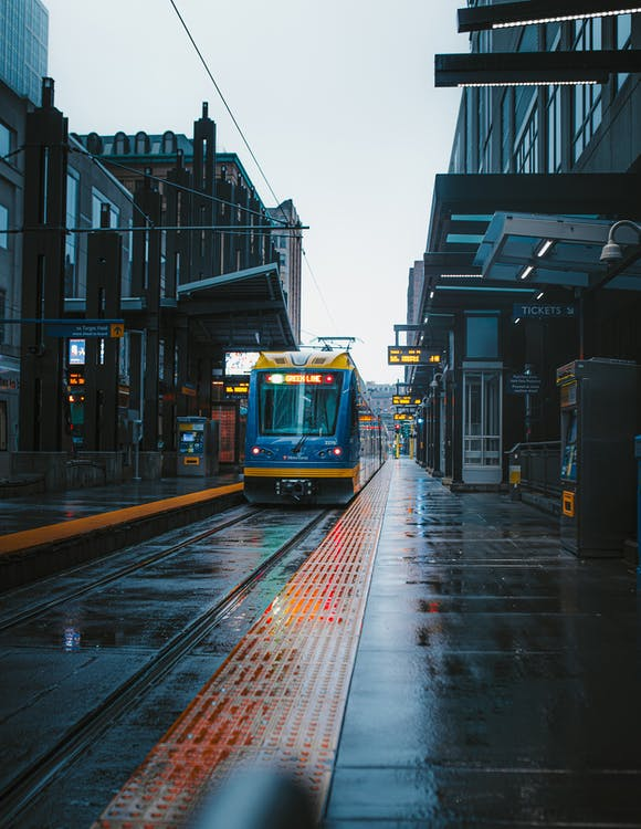 Blue Tram on Road