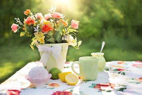Foto stok gratis berbayang, buah-buahan, bunga-bunga, cangkir