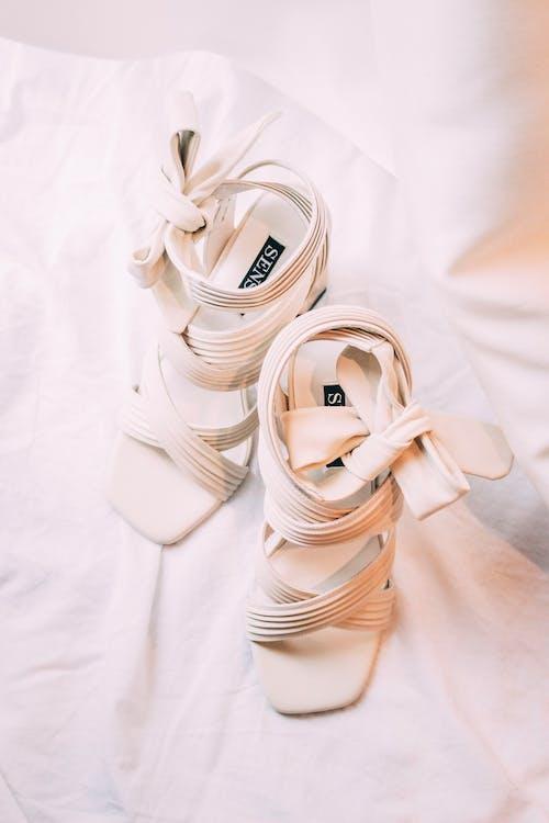 White Leather Sandals on White Textile