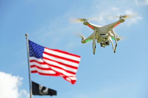 Free stock photo of america, american flag, drone