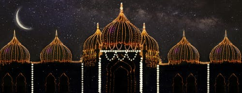 Free stock photo of Beautiful Scenery, dome, Dream mosque, fairy lights