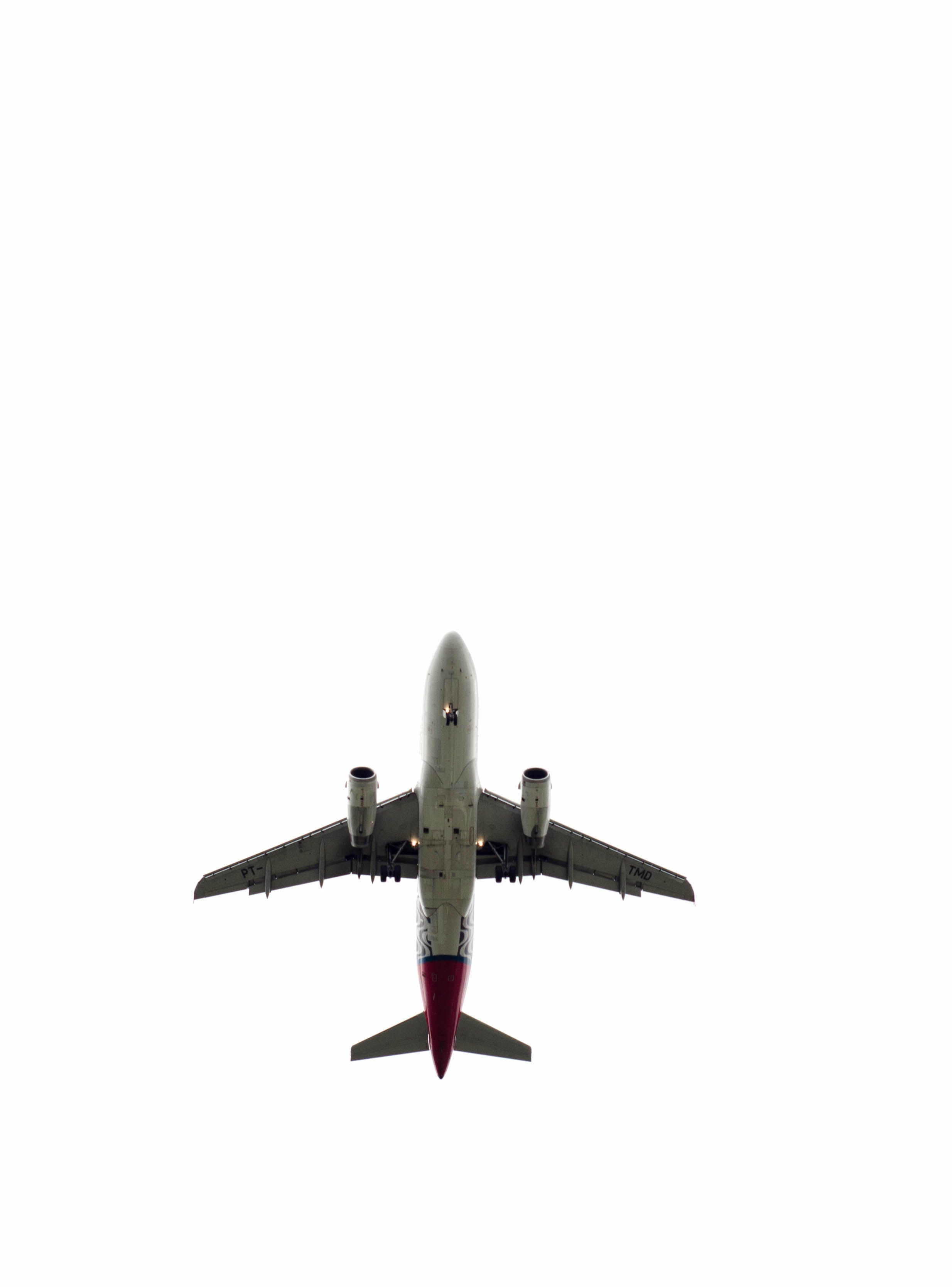 Gray and Red Airliner