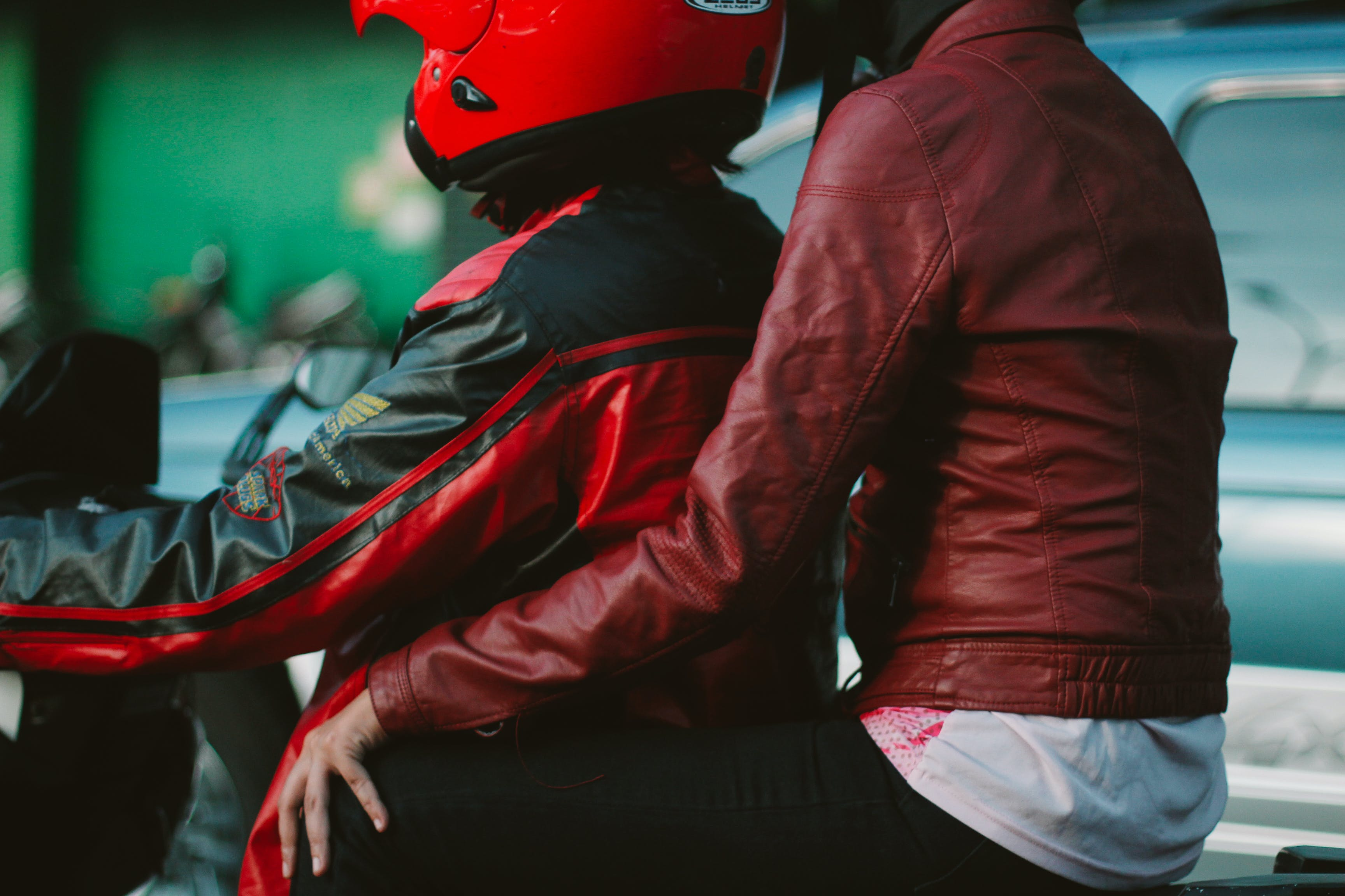 Free stock photo of couple, motorcycle, red, transportation