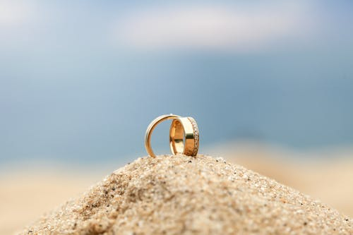 Gold Wedding Bands on Sand