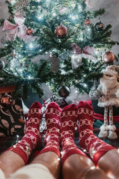 Couple Wearing Red Christmas Socks