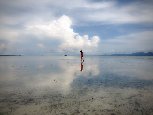 Free stock photo of beach, girl, lights reflection, ocean