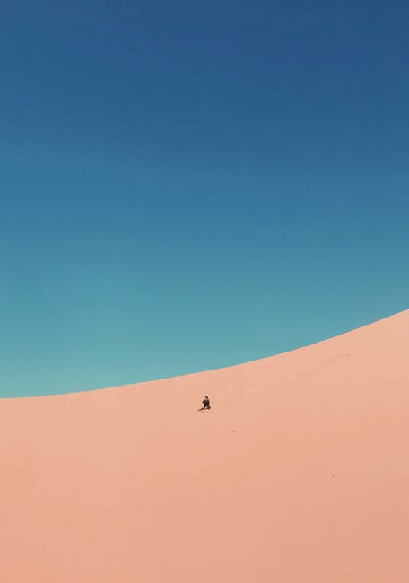 Person at a desert under blue sky