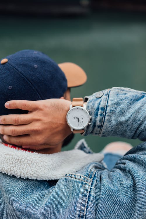 Man Wearing Analog Watch
