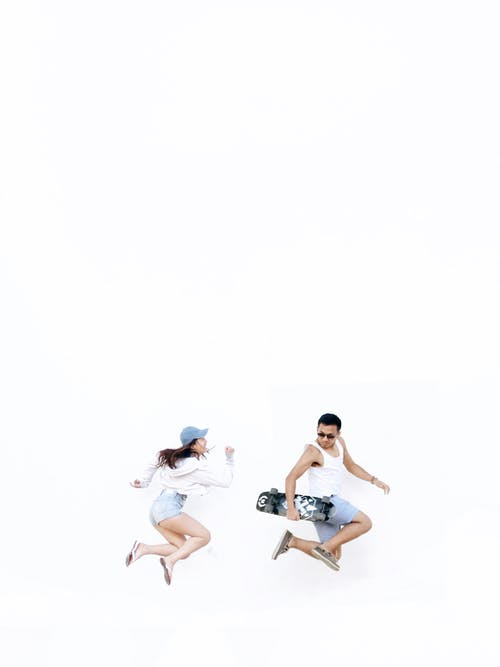 Free stock photo of blue, boy, girl, jumping