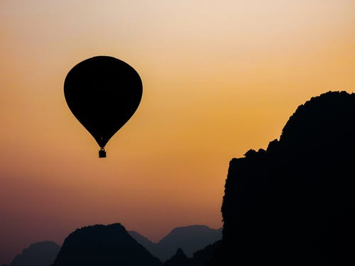 Silhouette Photo of Hot Air Balloon