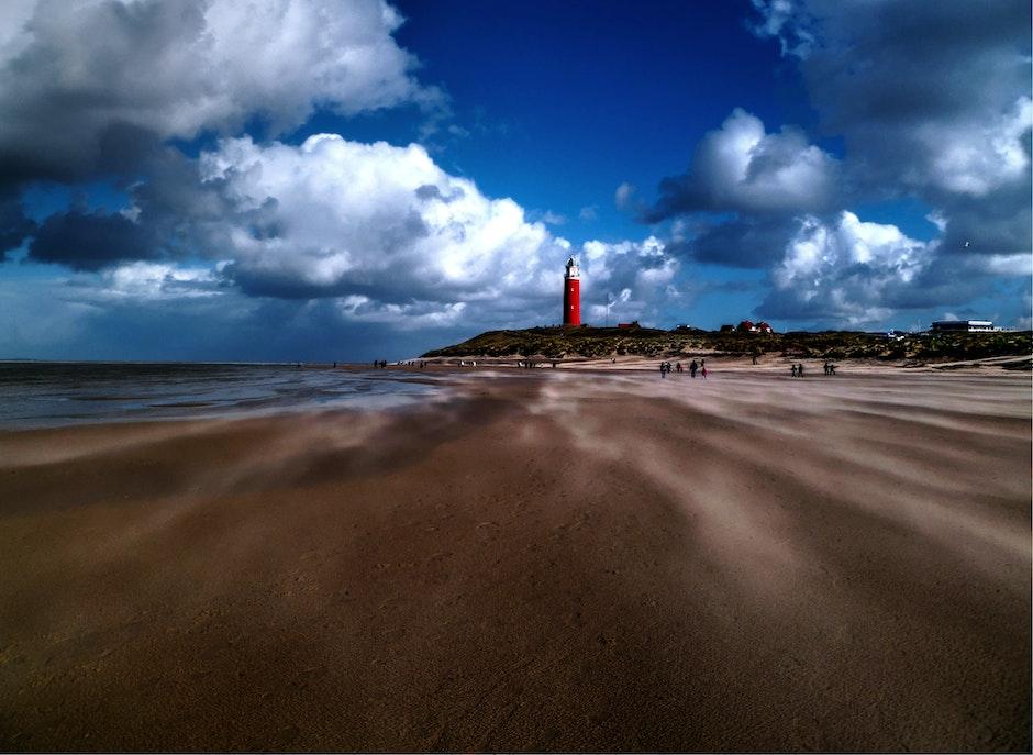 beach, lighthouse