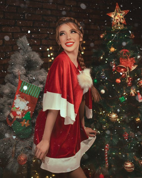 Woman Wearing White and Red Christmas Dress