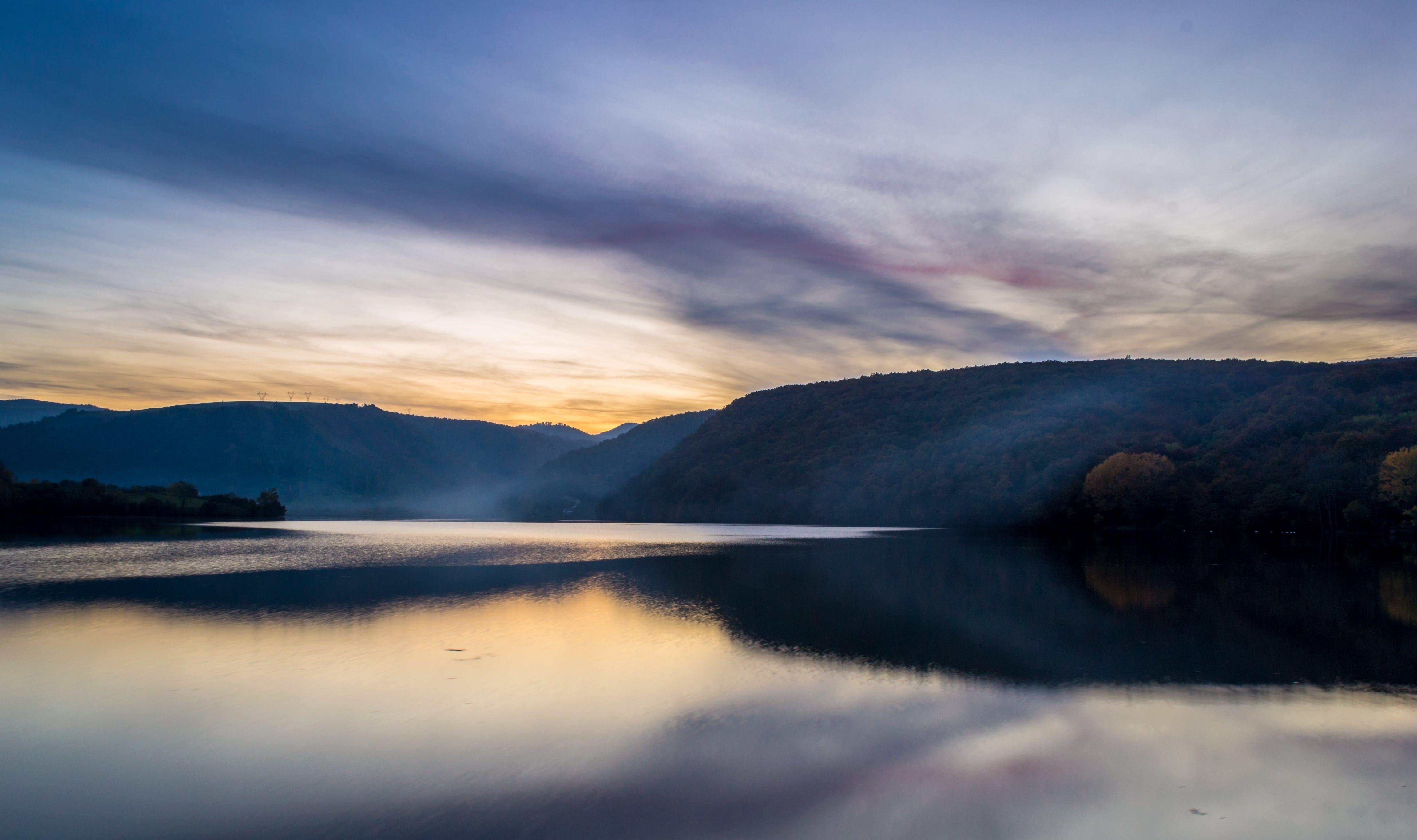 clouds, lake, landscape