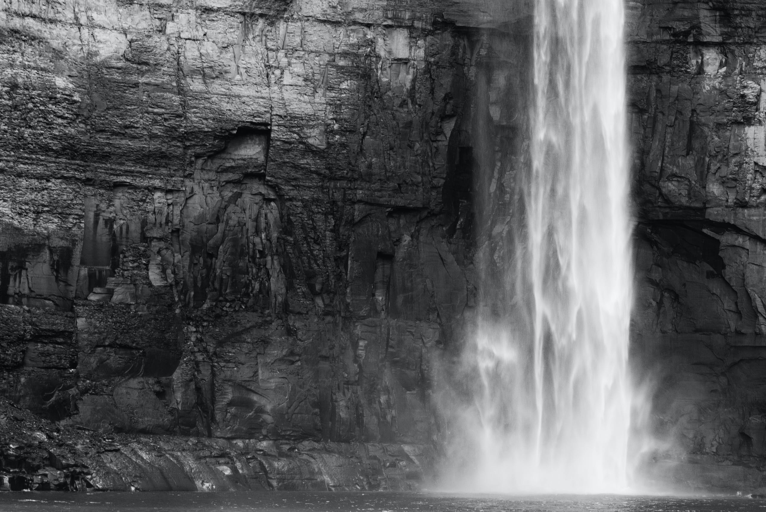 Free stock photo of black-and-white, nature, waterfall, contrast