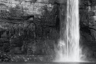 black-and-white, nature, waterfall