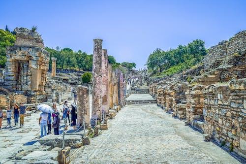 Free stock photo of ancient ruins, blue skies, marble pillars, mosaic paths