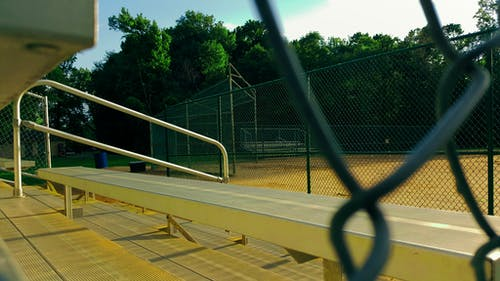 Free stock photo of baseball, bench, blue sky, blur