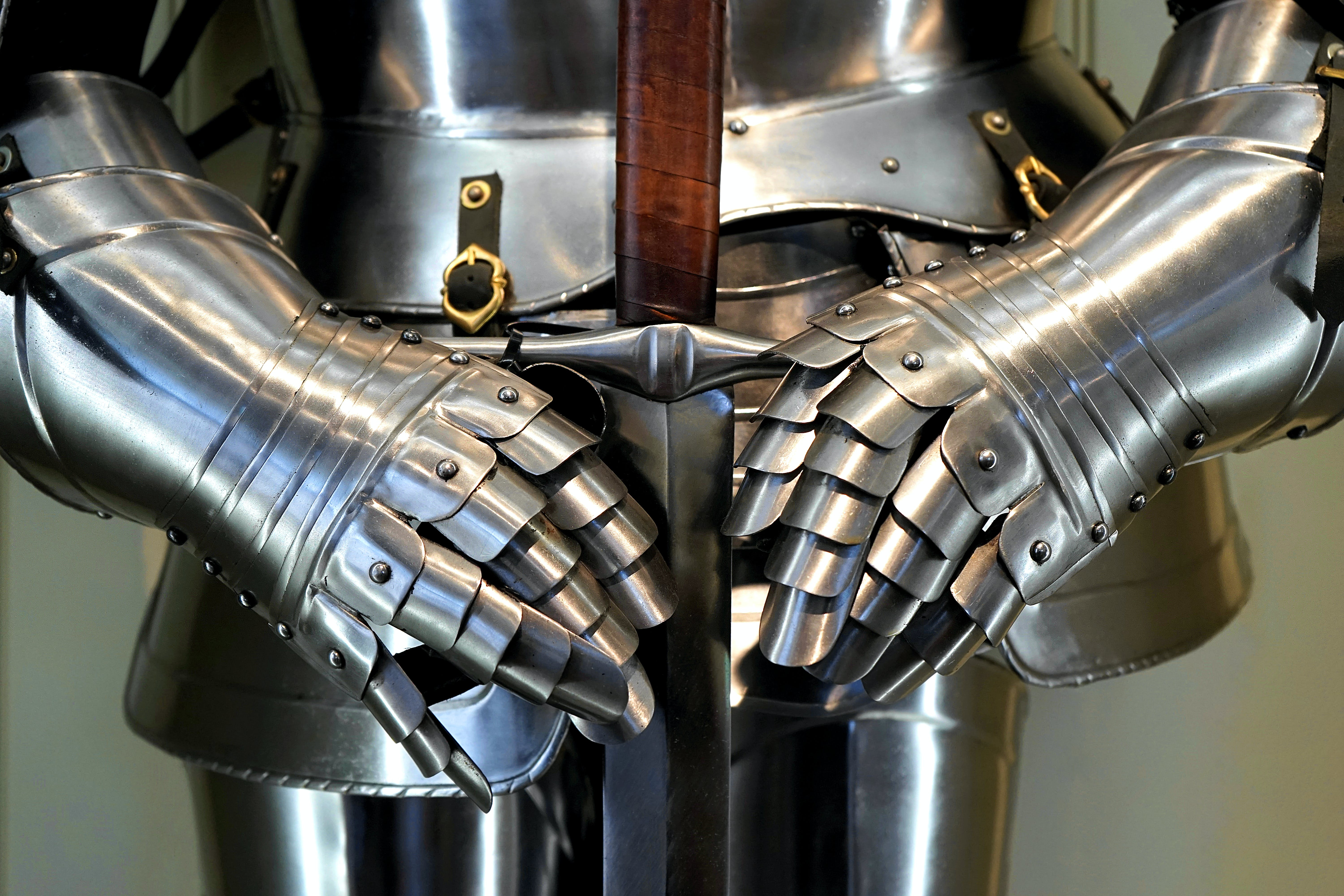 Silver and Brown Sword and Armor