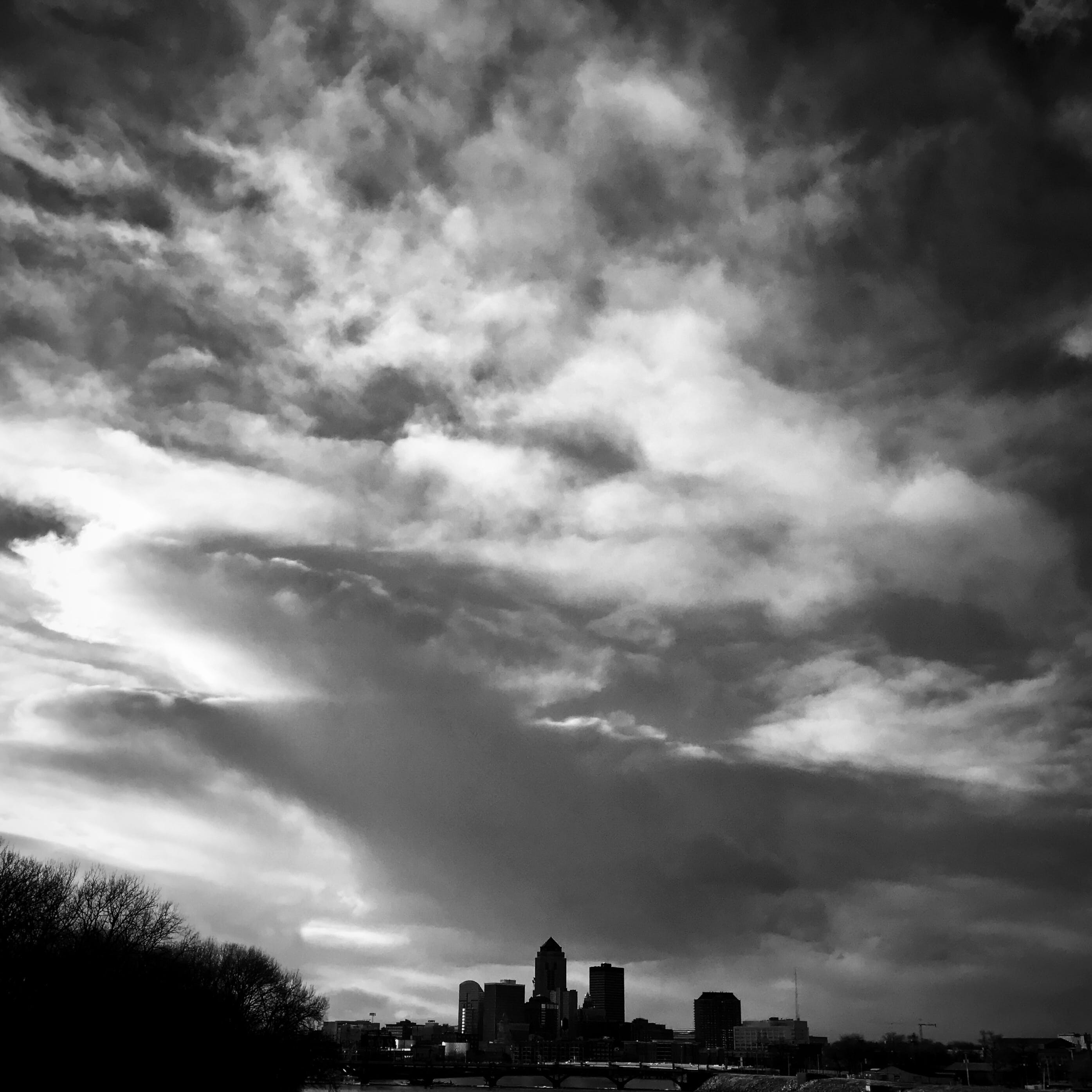 Free stock photo of black and white, clouds, des moines, iowa