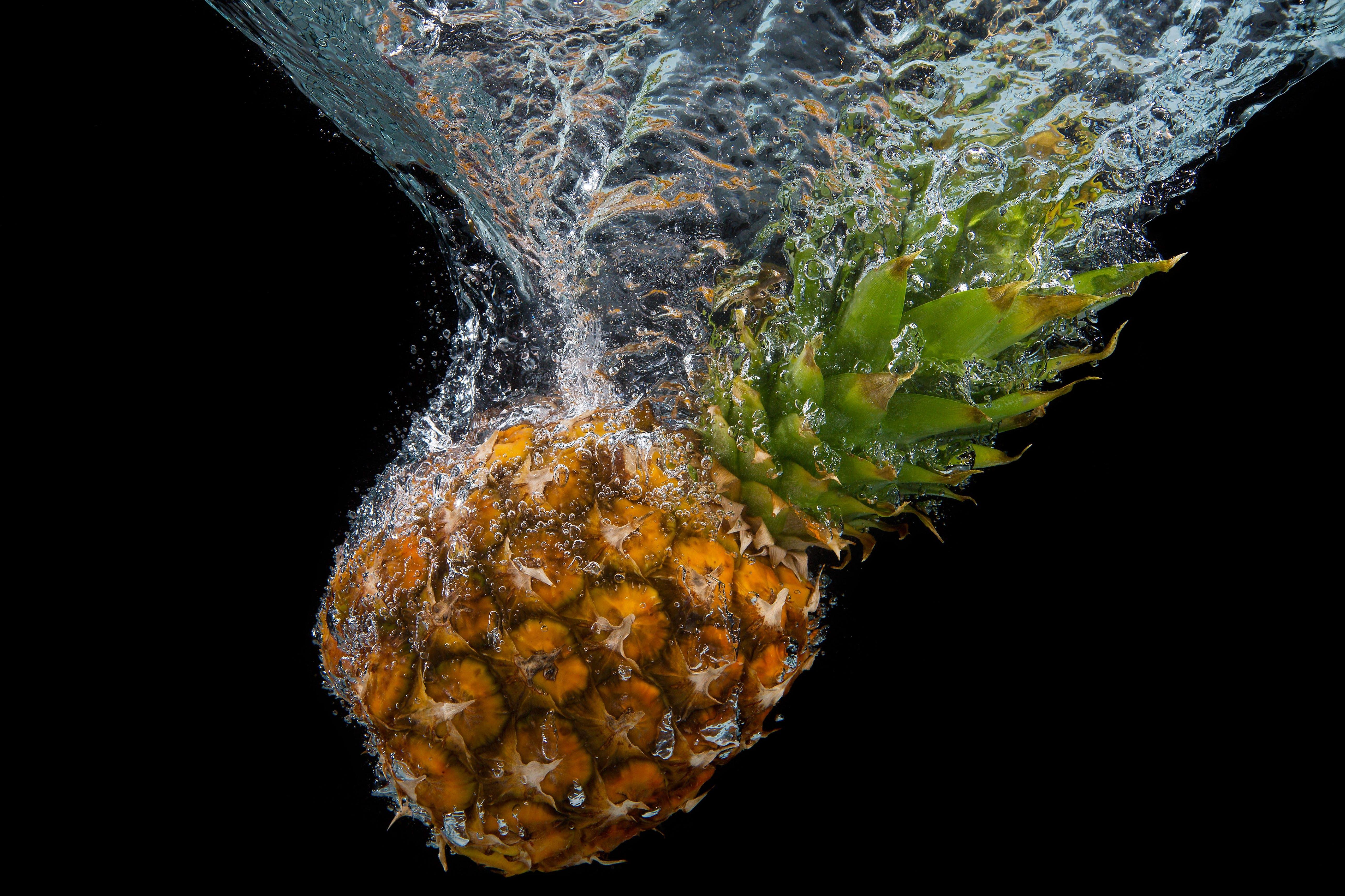 Orange Pineapple on Water Digital Wallpaper