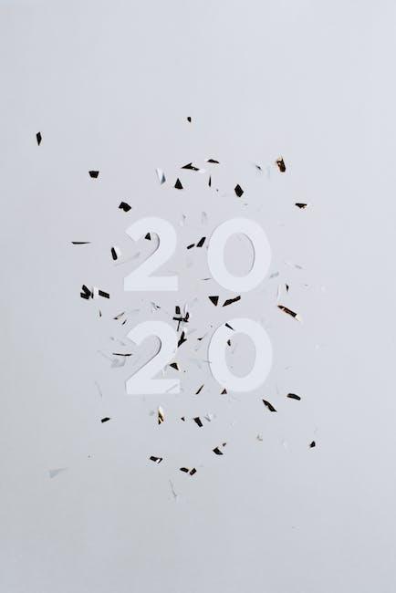White and black 2020 with confetti