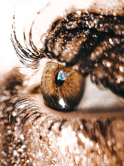 Macro brown eye of woman with dark sparkling eyeshadow on eyelid with lush eyelashes looking away